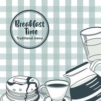 breakfast time lettering in circular frame poster with ingredients in table clothes vector