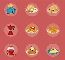 bundle of nine breakfast ingredients set icons vector