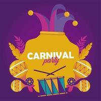 Celebración de la fiesta de carnaval de Mardi Gras con sombrero de bufón e instrumentos vector