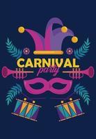 Celebración de la fiesta de carnaval de Mardi Gras con instrumentos y sombrero de bufón vector