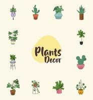 bundle of home plants in ceramic pots decor and lettering vector