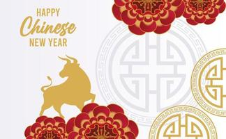 happy chinese new year lettering card with golden ox in frame vector