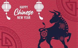 happy chinese new year lettering card with ox and lanterns vector
