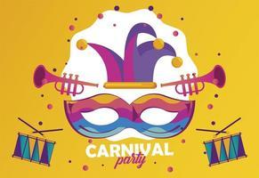 Celebración de fiestas de carnaval de Mardi Gras con máscara y sombrero de bufón vector