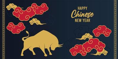 happy chinese new year lettering card with golden ox and red clouds vector