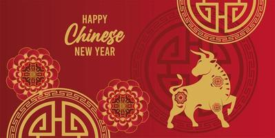 happy chinese new year lettering card with golden ox and laces vector