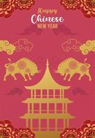 happy chinese new year lettering card with golden oxen and castle silhouettes vector