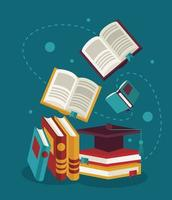 text books education supplies with graduation hat vector