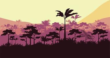 jungle wild nature sunset landscape scene vector