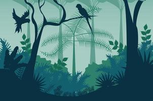 jungle wild nature blue landscape with parrots flying scene vector