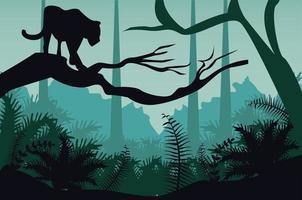 jungle wild nature green color landscape with cougar scene vector