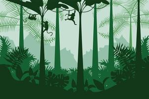 jungle wild nature green color landscape with monkeys scene vector