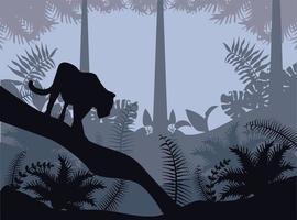 jungle wild nature gray landscape with cougar scene vector