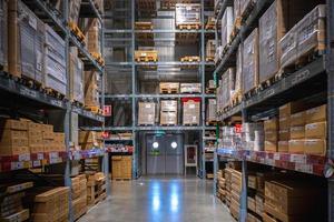 Emergency exit in IKEA warehouse photo