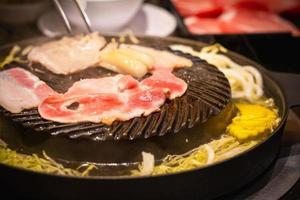 Pork BBQ-style on the Korean BBQ grill pan photo