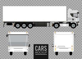 white buses and big truck mockup cars vehicles icons vector