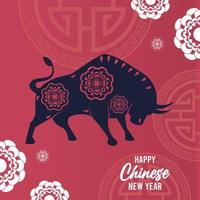 happy chinese new year lettering card with ox vector