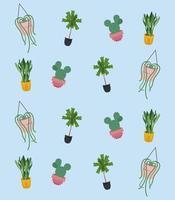 bundle of sixteen home plants in ceramic pots decor vector