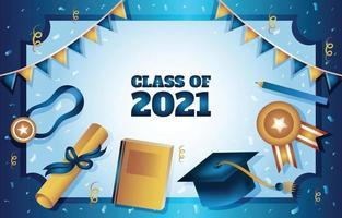 Plantilla de fondo de marco de graduación dorado y azul vector
