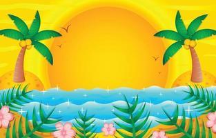 Tropical Beach Sunset Background Template vector
