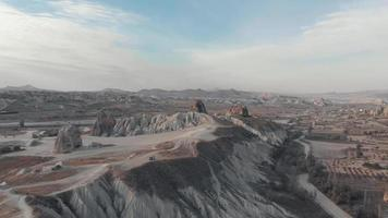 Rocks formation in Cappadocia landscape, Turkey. Cinematic aerial forward video