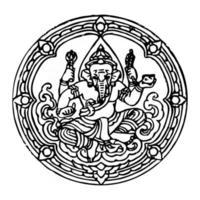 Hindu god elephant Ganesha vector outline illustration