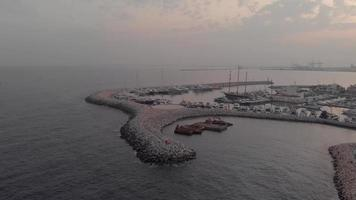 Marina of Limassol at dusk, Cyprus - Aerial View 4k Drone shot video