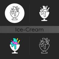Frozen yogurt dark theme icon vector