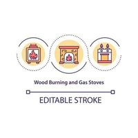 Wood burning and gas stoves concept icon vector