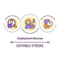 icono de concepto de abogado de empleo vector