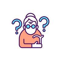 Confused elderly woman RGB color icon vector