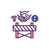 barrera a la inclusión digital icono de color rgb vector