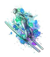 Abstract jumping skier from a splash of watercolor hand drawn sketch Winter sport Vector illustration of paints