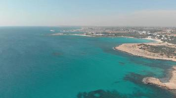 Beautiful turquoise waters of Ayia Nappa's Nissi beach - Cyprus Aerial view 4K video