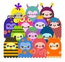 pequeña comunidad de monstruos kawaii vector