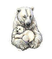 Polar bear with cub from a splash of watercolor hand drawn sketch Vector illustration of paints