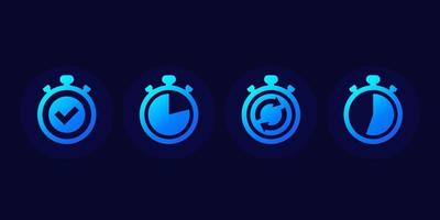 chronometer and timer or countdown vector icons