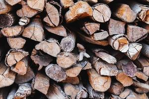 Stacked firewood background photo