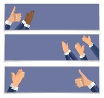 plantilla de banners de aplausos de mano aplaudiendo de diseño plano vector