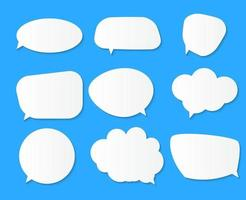 White blank speech bubbles thinking balloon set on blue background vector
