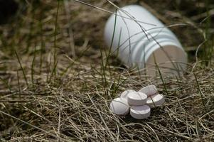 White pills in the dry grass photo