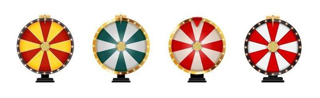 Wheel of Fortune Lucky Icon Template isolated on white collection set vector