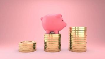 The piggy bank is jumping on the gold coin on  pink background video