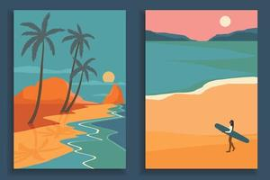 Beach landscapes Poster vector