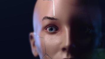 ritratto di un uomo futuristico con un concetto di zoom della fotocamera liscia del futuro umano e dello sviluppo tecnologico video