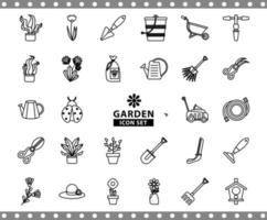 bundle of gardening tools line style icons vector