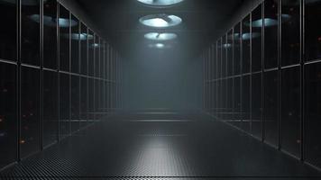 großer Serverraum mit Fans riesige Rechen- und Datenaustauschschleifenanimation video