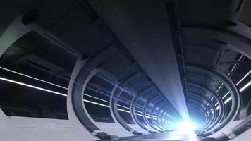 großer Serverraum riesige Rechen- und Datenaustauschschleifenanimation video