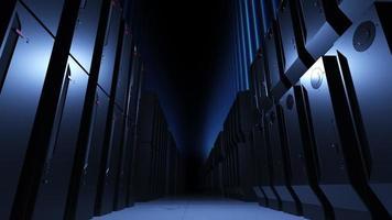 spel och molnströmning ett rum med många servrar konceptet att beräkna och bearbeta en stor mängd data video