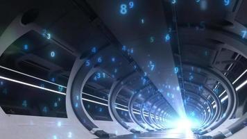 grande salle de serveurs énorme informatique et échange de données video